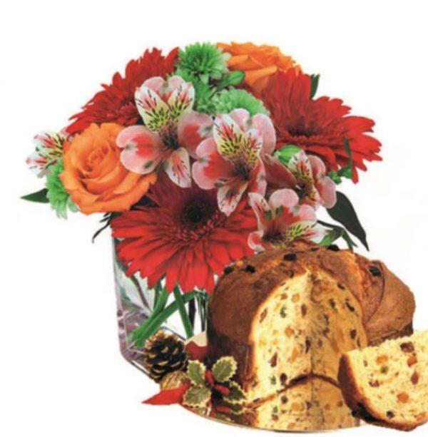 Scatola natale famiglia con giochi fiori panettone per lei lui bambini sorpresa natalizia-min